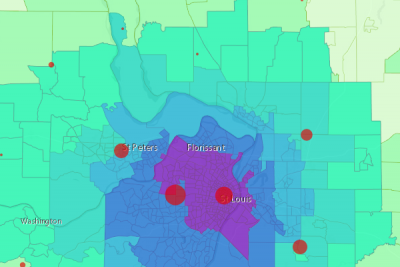 Map of COVID-19 cases by county centroid and number of ICU beds in St. Louis, MO
